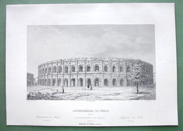 FRANCE Roman Amphitheatre at Nimes - 1860 SCARC... - $22.18
