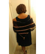 ladies crocheted shawl black and peach size med/ lg - $29.95