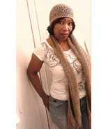 Beige Crochet Shawl/Scarf with Matching Hat - $28.50