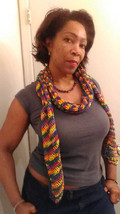 Crochet Multi color summer scarf - $29.95
