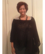 Ladies Cocheted Poncho Cashmere / Lambs Wool Blend size lg-xl - $50.00