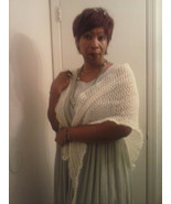 summer shawl / scarf beautifully crocheted light weight white mohair shawl - $18.50