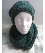hat and endless scarf set shimmering hunter green - $24.95