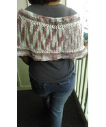 ladies multi color poncho soft rust pink and light green with white - $24.00