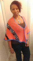orange poncho with brown trim with blue - $26.50