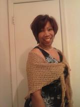 Ladies shawl/scarf peach wheat and caramel cashmere wool blend Lg - $39.99