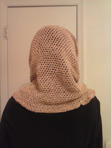 ladies hooded cowl peach and baige in color silk and wool blend - €18,44 EUR
