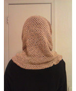 ladies hooded cowl peach and baige in color silk and wool blend - $19.95