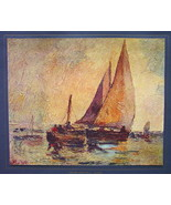 ITALY Sail Boats in Susnet Marina - COLOR Antique Print - $14.26