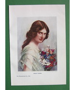 LOVELY MAIDEN Bouquet of Flowers - COLOR Print ... - $11.78