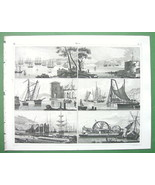 SHIPS Naval Equipment Cranes Roadsteads Arsenal Piles - SUPERB Antique P... - $20.95