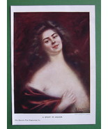 LOVELY MAIDEN Happy Smile - COLOR Print Antique - $11.78