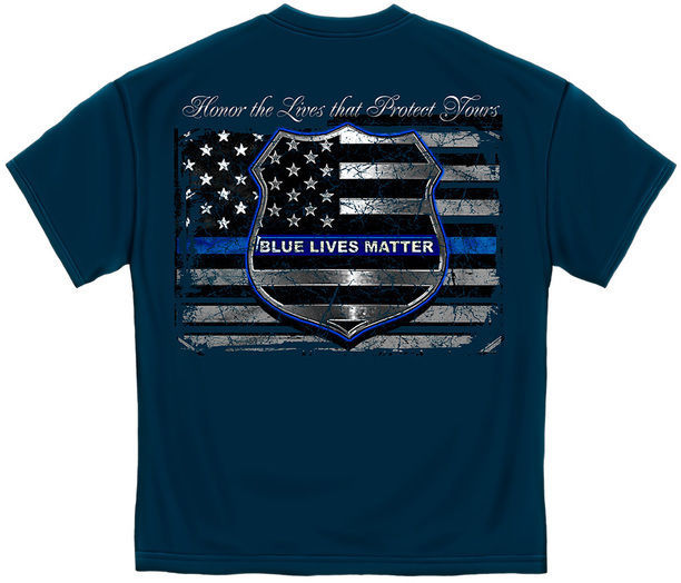 Primary image for New BLUE LIVES MATTER Police Flag  T Shirt LAW ENFORCEMENT