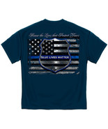 New BLUE LIVES MATTER Police Flag  T Shirt LAW ENFORCEMENT - $18.99