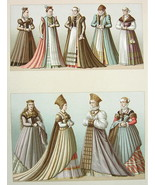 GERMANY Renaissance Costume Ladies Women - COLOR Litho Print by Racinet - $14.26