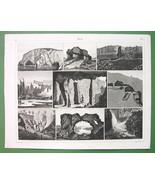 CAVES Caverns Italy Sicily  Iceland Scotland  - SUPERB Antique Print - $12.61