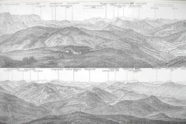 1896 MAP ORIGINAL Baedeker - ALPS Panoramic Vie... - $8.41