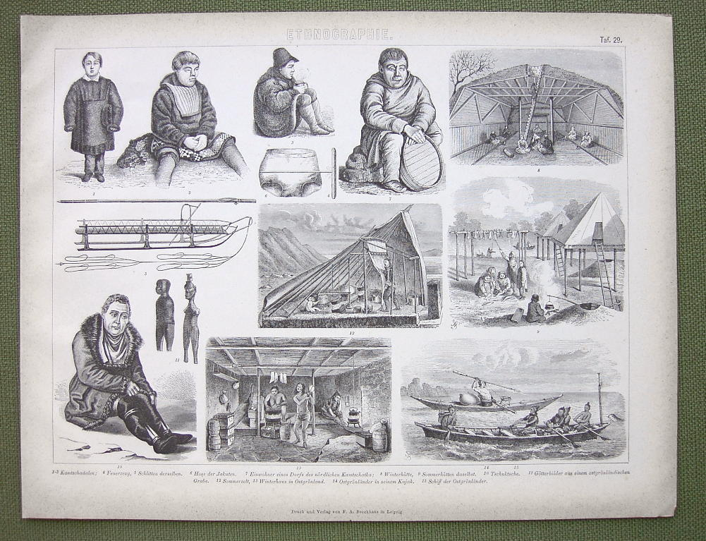 ETHNOGRAPHY Russia Siberia Greenland Natives - 1870s Original Print Engraving