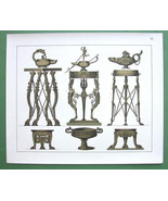 ROMAN USTENSILS Lamps Stands Bronze Bowls - COL... - $18.51