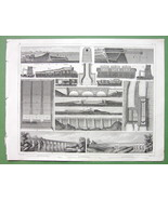 CANALS & Aqueducts France New York - 1844 SUPERB Antique Print - $20.95