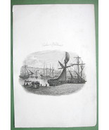 FRANCE Calais Harbor Sailships - 1823 Original Copper Engraving Print - $11.78