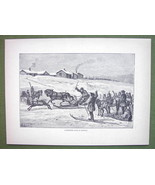 NORWAY Winter Reindeer Race - 1858 Antique Prin... - $15.15
