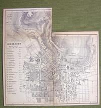 GERMANY Wiesbaden City Plan - 1880 MAP ORIGINAL... - $7.91