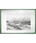 BRAZIL Santos Harbor Frigates Sailships South A... - $11.78