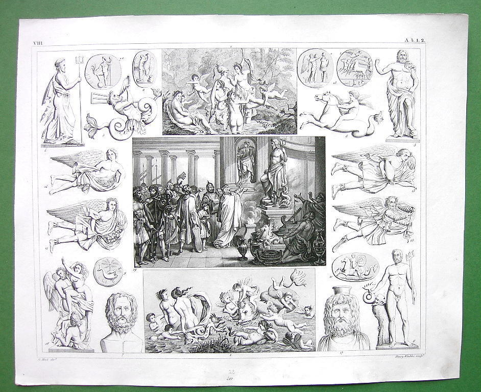 MYTHOLOGY Sacrifice to Neptune ROman Gods Deities - 1844 SUPERB Engraving Print