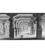 INDIA Rock Cave Tombs at Elephanta - 1860 SCARC... - $28.61