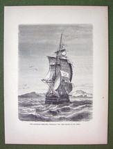 ST. PAUL ISLAND Austrian Frigate Novara - 1858 Antique Print Engraving - $15.15