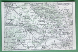 1913 MAP ORIGINAL Baedeker - FRANCE St. Denis P... - $4.21