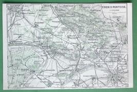 1913 MAP ORIGINAL Baedeker - FRANCE St. Denis P... - $4.21