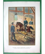 GERMAN ARMY At Horse Riding Hall Flying Jump - SUPERB Color Litho Print - $17.42