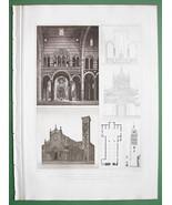 ITALY Prato Pisa Pistoia Cathedrals - D' ESPOUY Print Vintage - $12.61