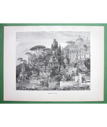 ROMAN VILLA Restored View - 1882 Antique Print - $10.93