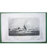 RUSSIA Crimean War Odessa Bombardment - 1860 Engraving Print Ornamental ... - $15.15