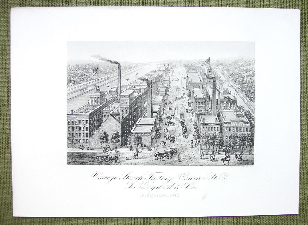 NEW YORK Oswego Starch Factory - 1876 Original Engraving Print