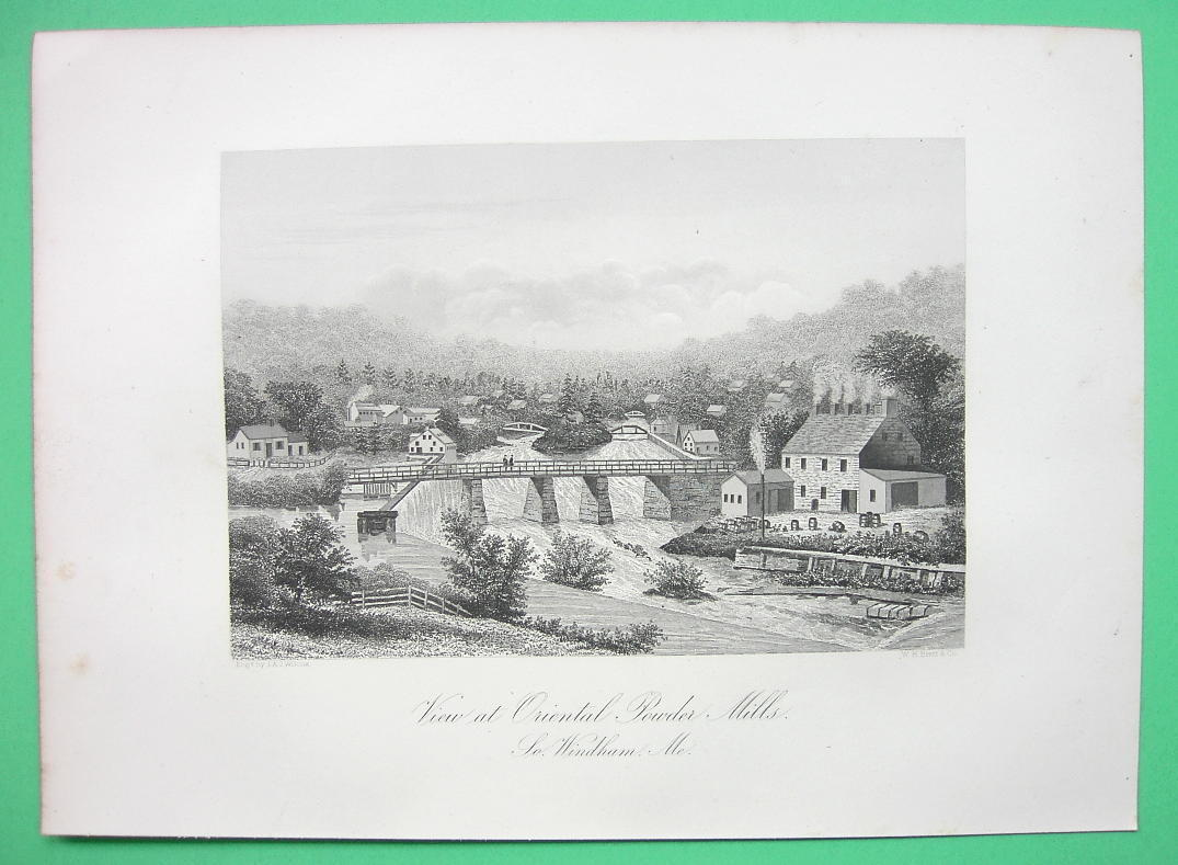 SOUTH WINDHAM Massachusetts Gun Poder Mills Co - 1876 Original Engraving Print
