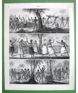PACIFIC ISLANDS Natives Tonga Australia Women Dance - 1844 Antique Engra... - $15.15