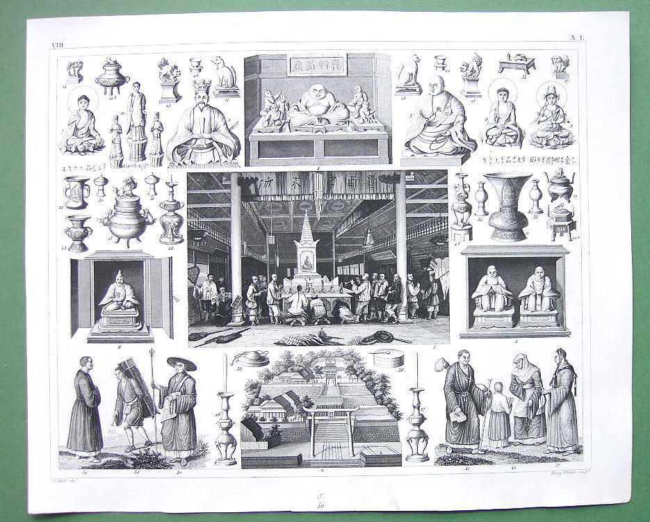 CHINA Canton Worship of Fo Far East Mythology Gods - 1844 SUPERB Antique Print