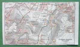 1913 MAP ORIGINAL Baedeker - FRANCE Clamart  Sc... - $4.21