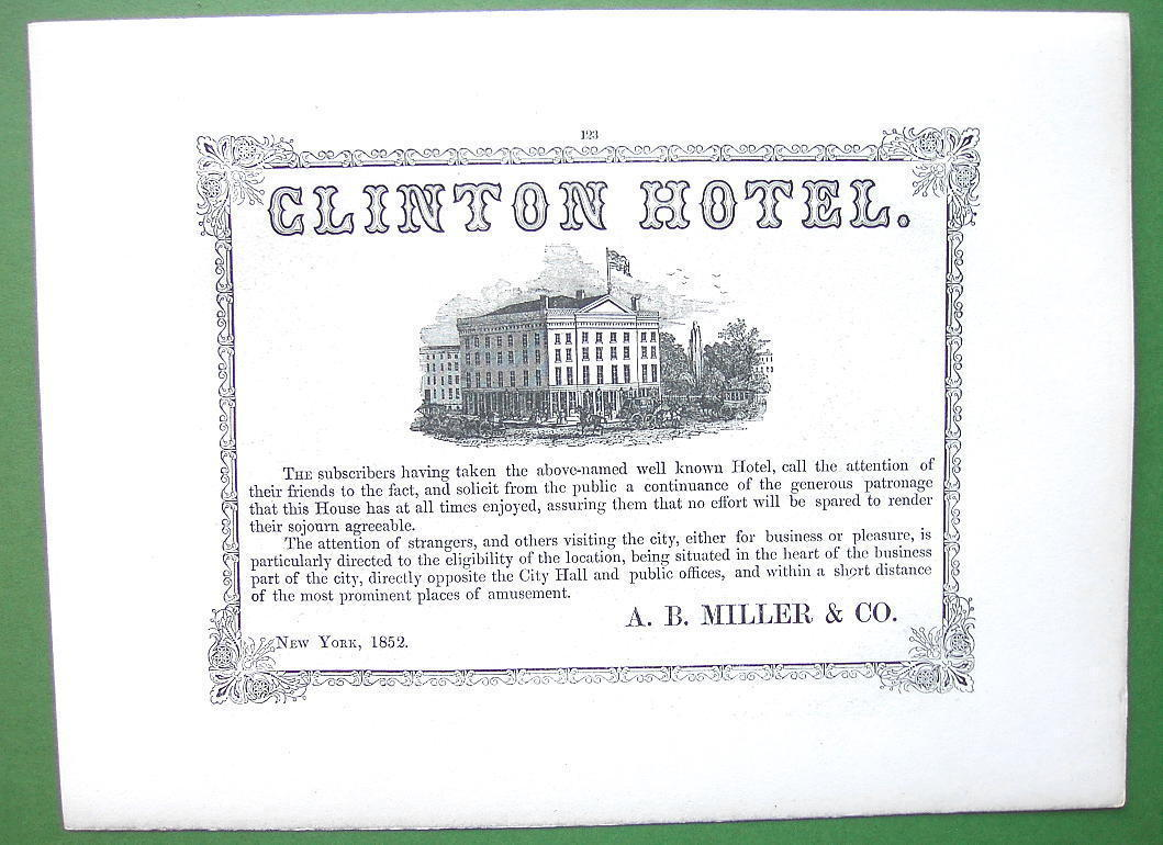 1853 Antique Print & AD : Passaic Falls & Clinton Hotel in New York