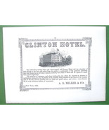 1853 Antique Print & AD : Passaic Falls & Clinton Hotel in New York - $21.04