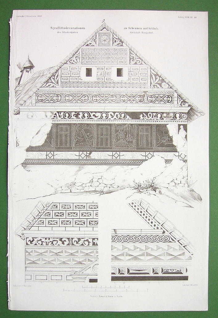 ARCHITECTURE PRINT !! GERMANY Hunter's Chalet at Scheunen Sgraffito Ornaments