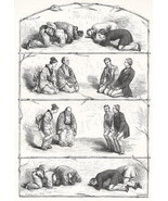 JAPAN Japanese Meeting Rituals - 100+ Years Old Antique Print - $10.51