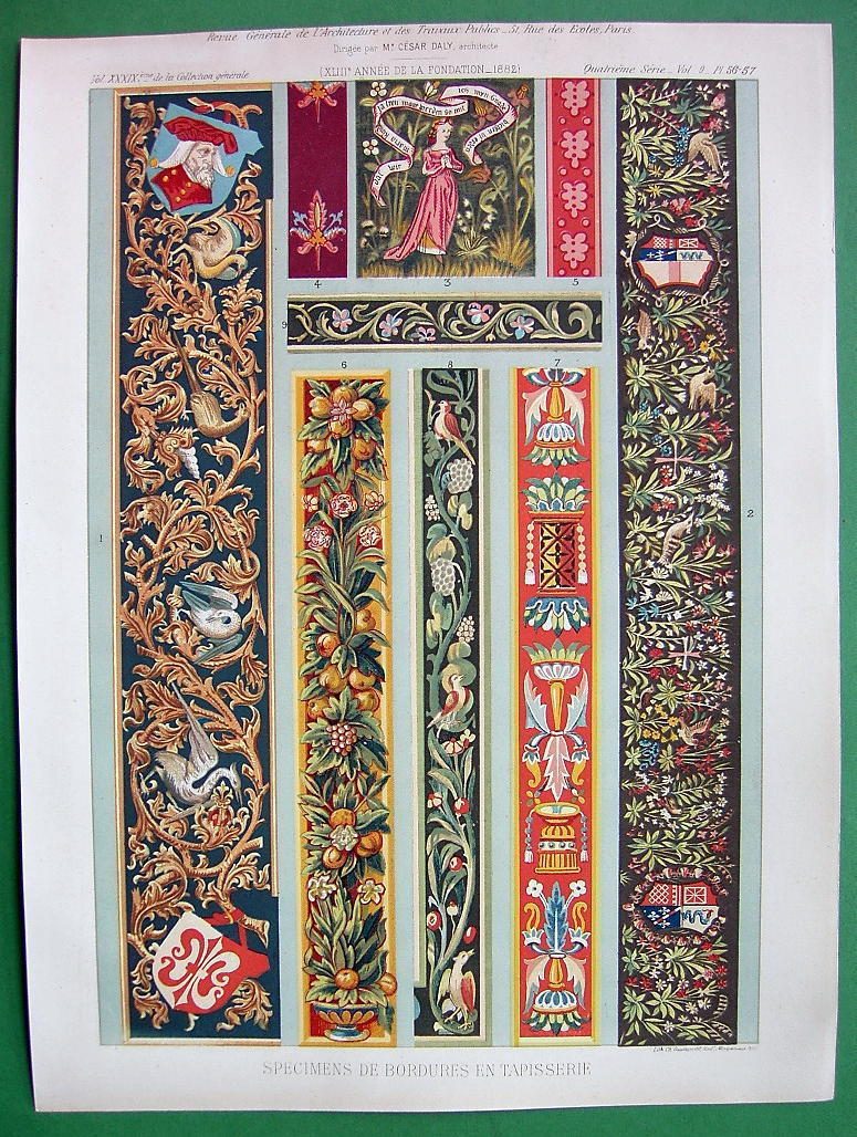 ARCHITECTURE Tapestry Borders - SCARCE Color Litho Antique  Print