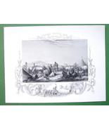 ARABIA Ibrahim Pasha's Camp Horses - 1860s Antique Print w/ Ornamental B... - $8.41