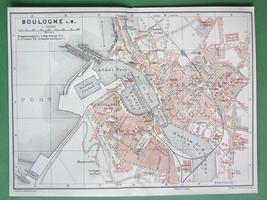 1913 MAP ORIGINAL Baedeker - FRANCE Boulogne su... - $5.46