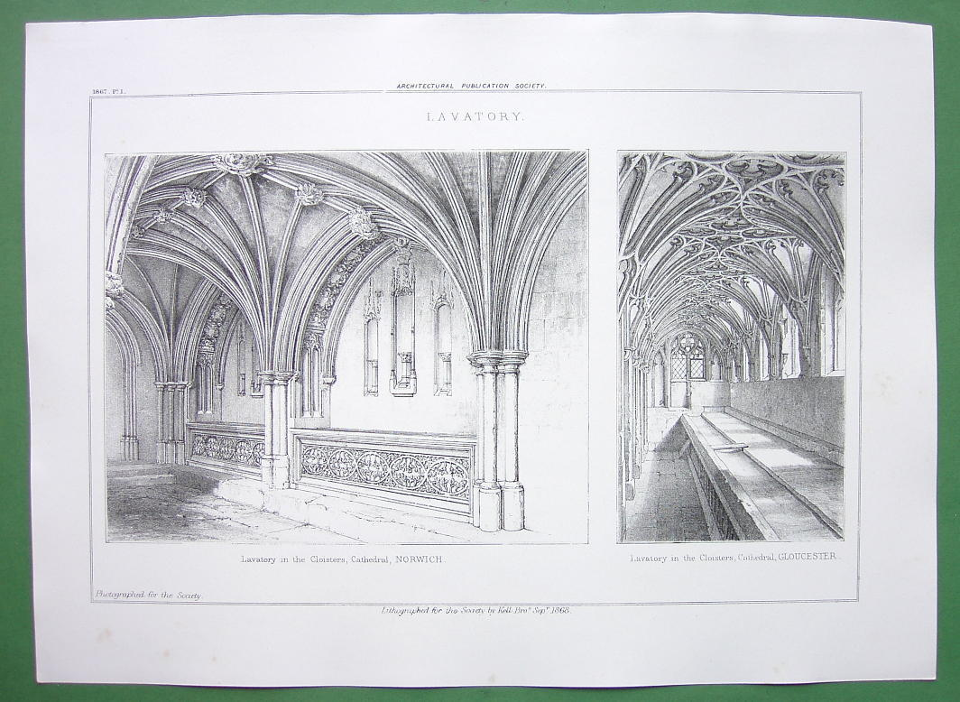 ARCHITECTURE PRINT : England Lavatories in Norwich & Gloucester Cathedrals